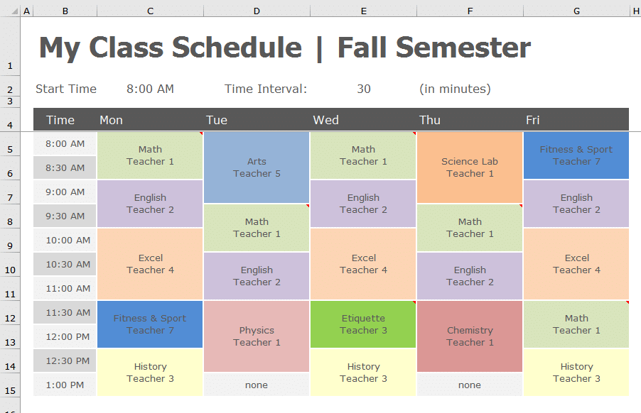 back to school transform class schedule to pivottable datachant