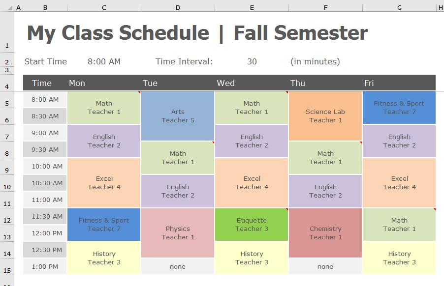 Back to School - Transform class schedule to PivotTable - DataChant