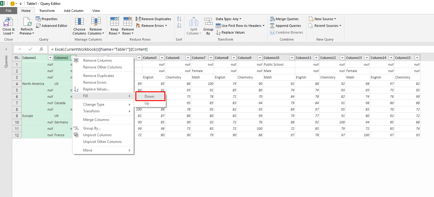 Transform any nested table to pivot table with function query the next step is to fill the null values of first two rows with school type and gender values since we dont have a fill right command we will transpose gamestrikefo Choice Image