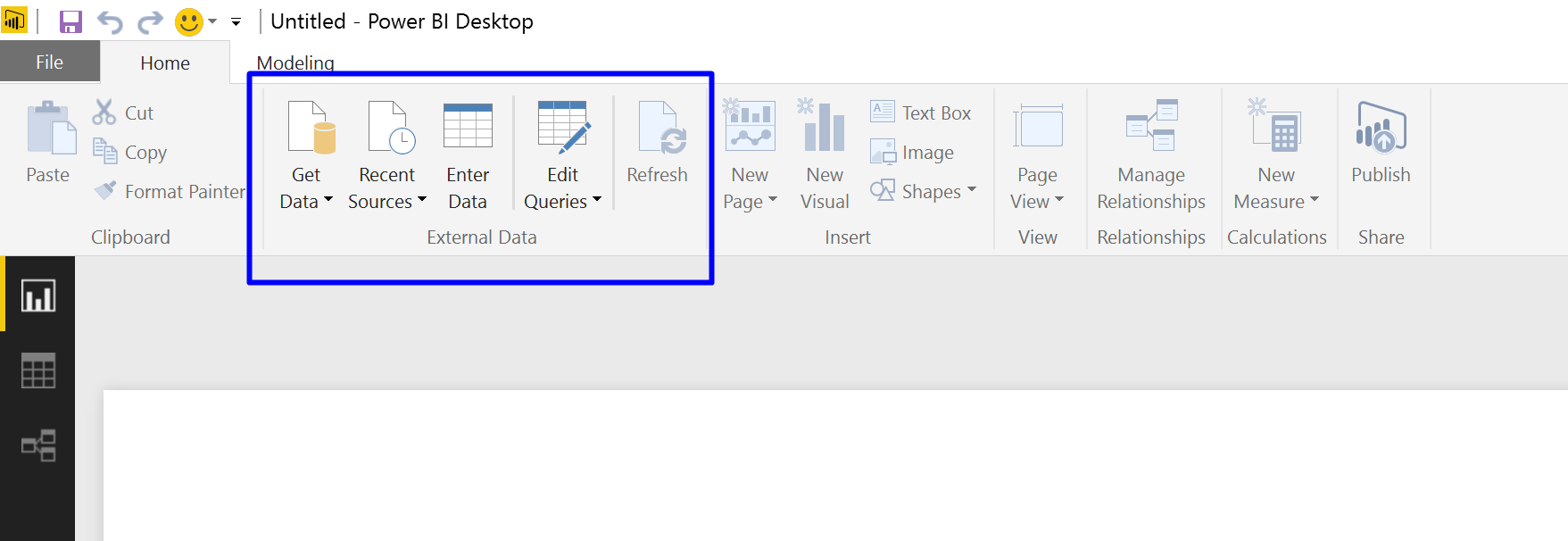 Entry point for Power Query in Power BI Desktop