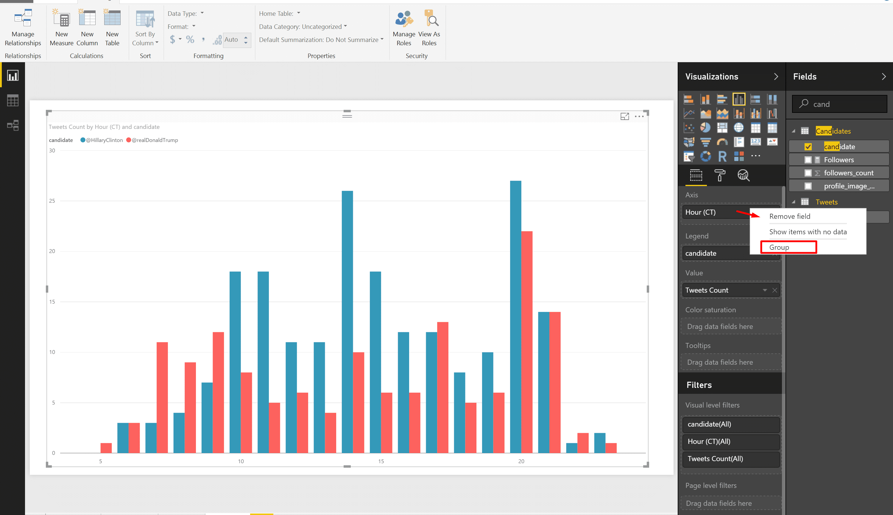 how to put two columns into one axis