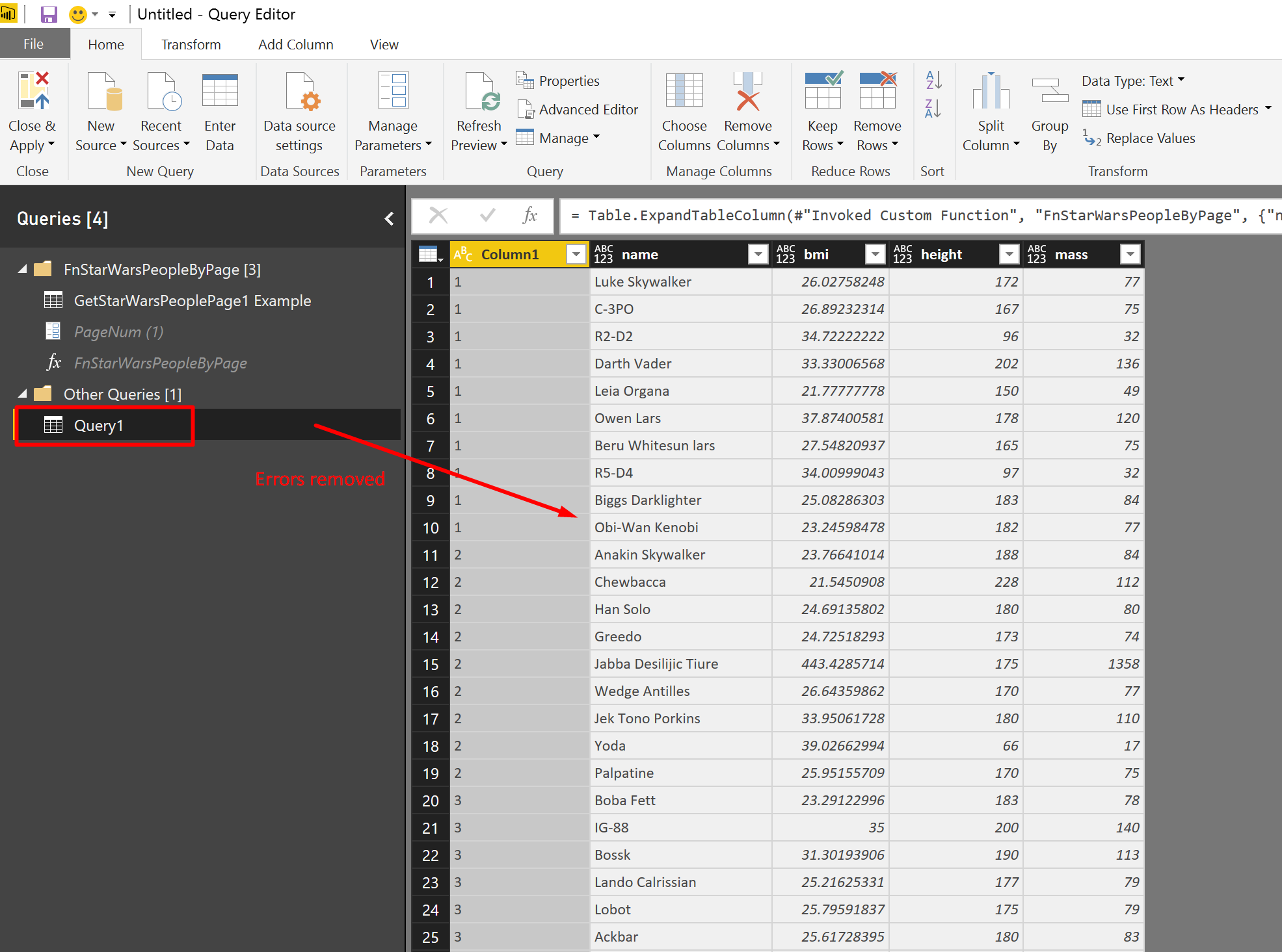 Editing a query example will affect its function query and all the queries that invoke the function in Power BI.