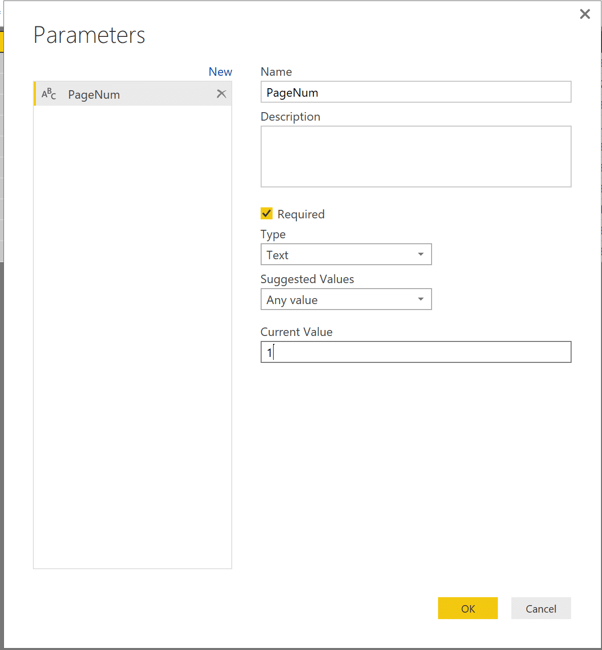 Create a new parameter in Power BI Query Editor.