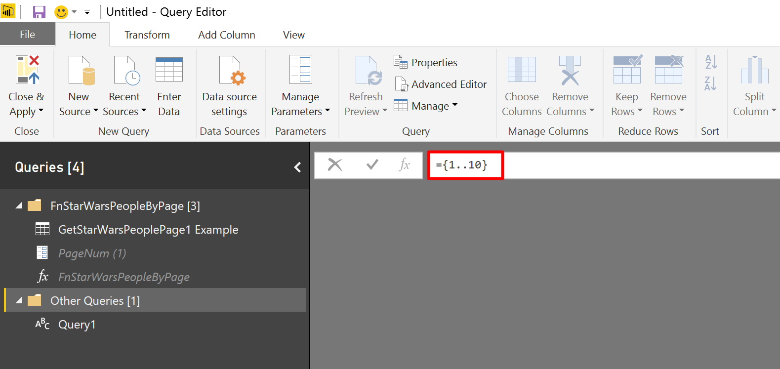 Add a list of numbers from 1 to 10 in Power BI
