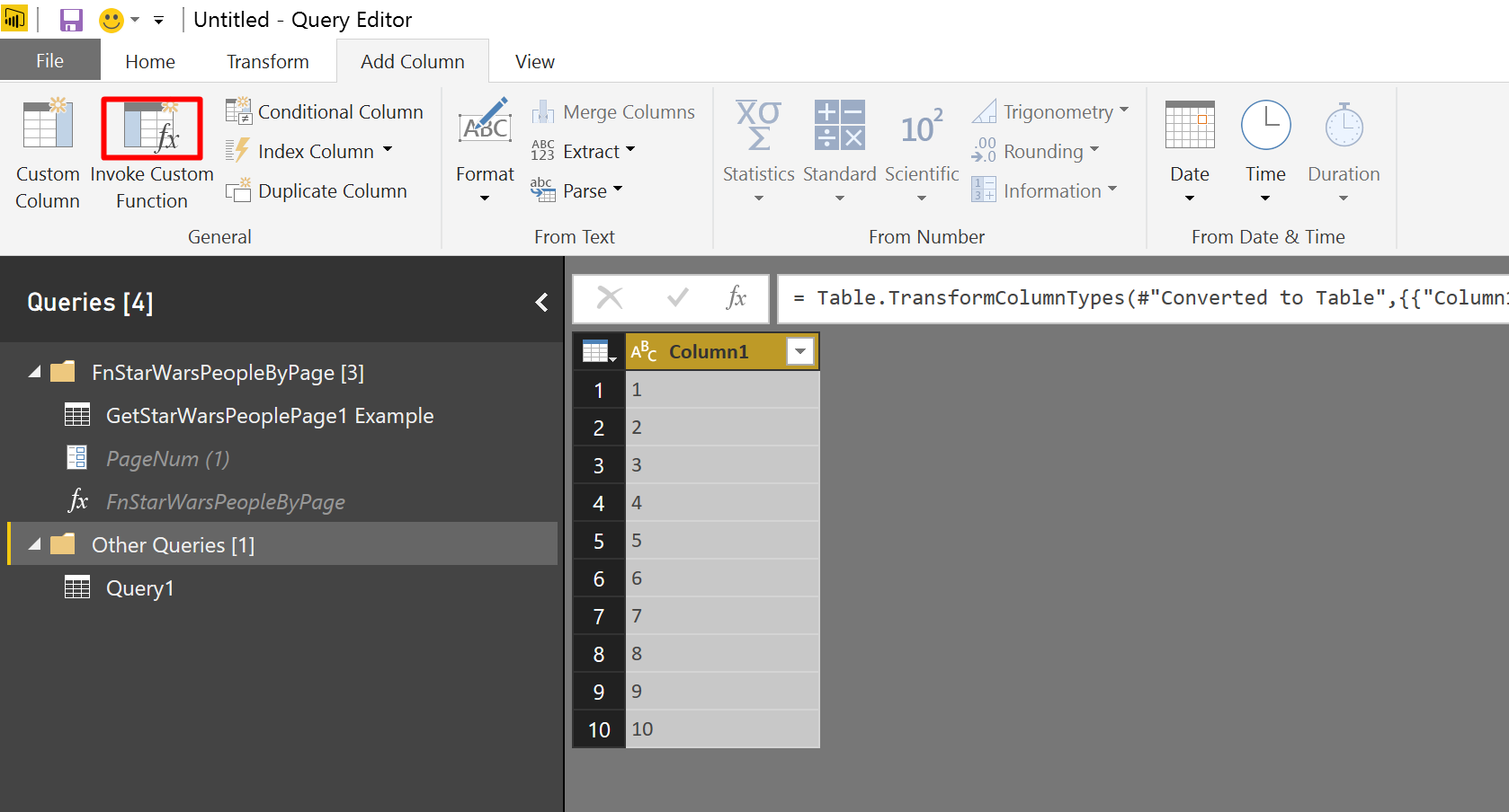 We can invoke the function from the UI using Invoke Custom Function in Power BI.