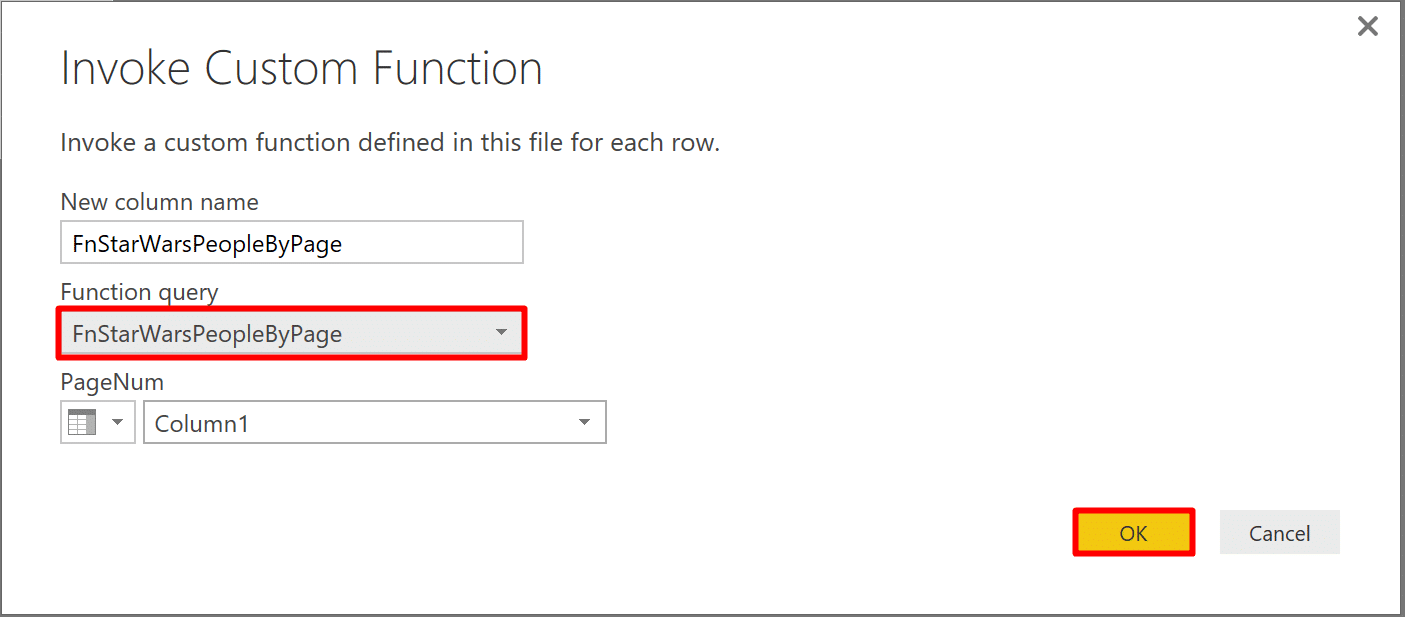 We can invoke the function from the UI using Invoke Custom Function window in Power BI.