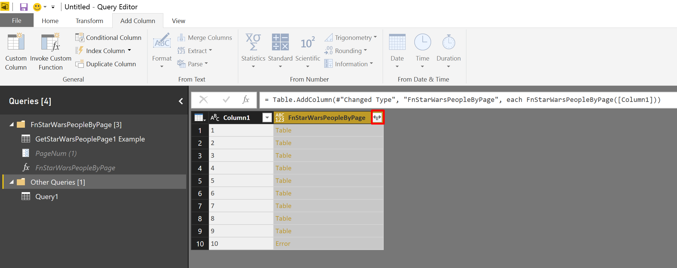 We were able to apply the function in Power BI. Next step is to expand the columns of each table object.