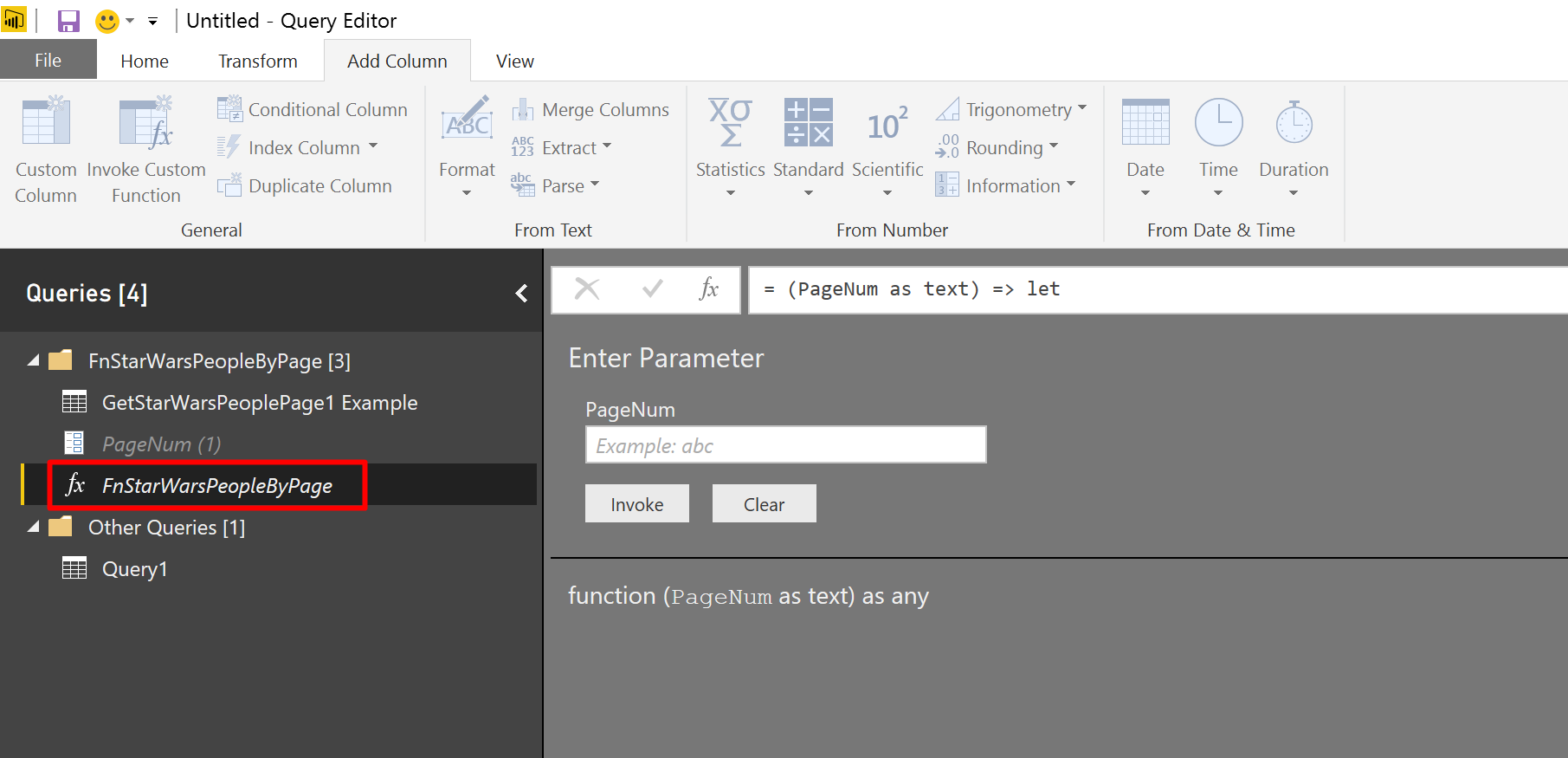 You are encouraged not to edit the function from Advanced Editor in Power BI. Instead, try editing the example. It will directly modify the function.