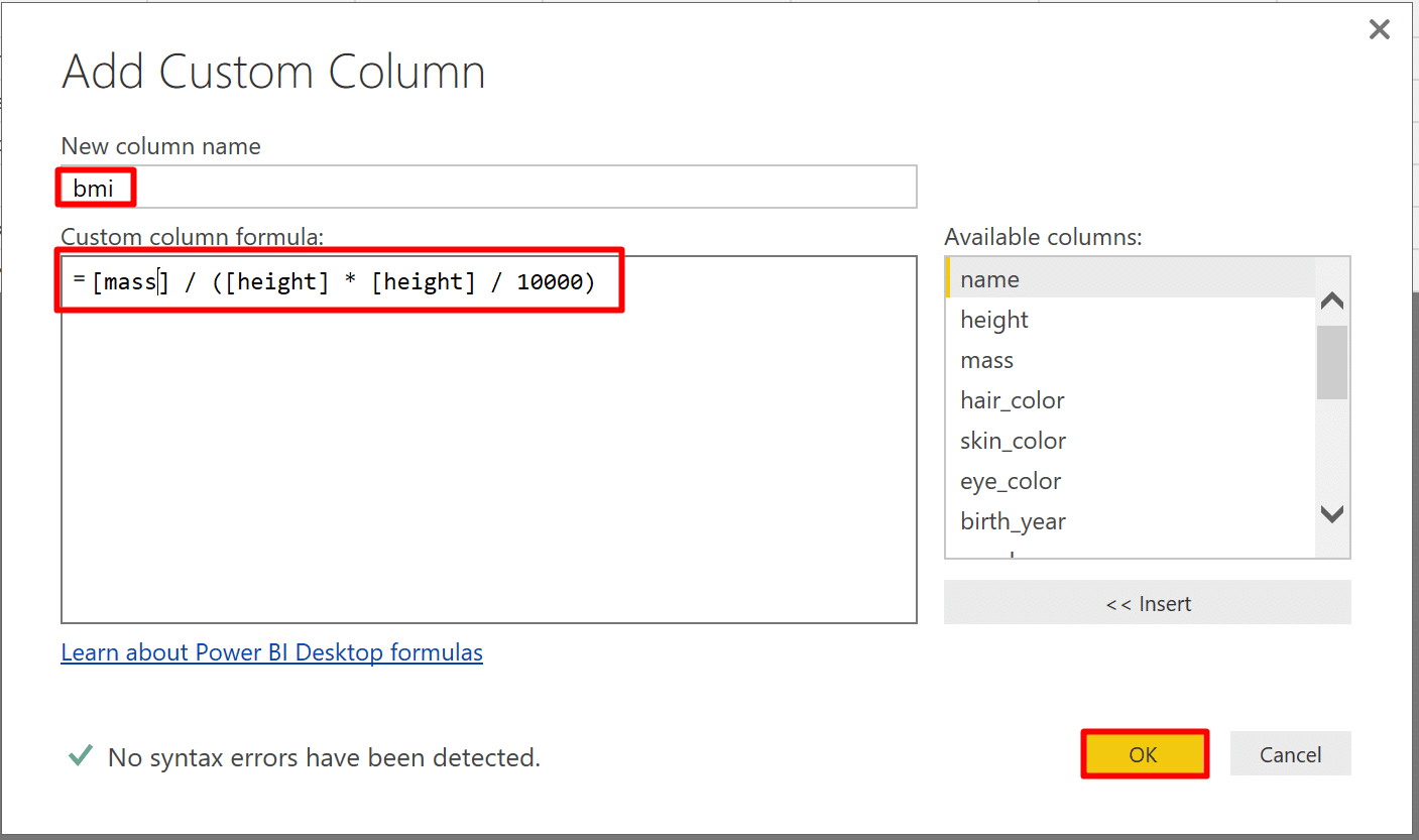 Editing a query example will affect its function query and all the queries that invoke the function in Power BI. In this example, we add a BMI calculation in the example query, and see its impact on the function.
