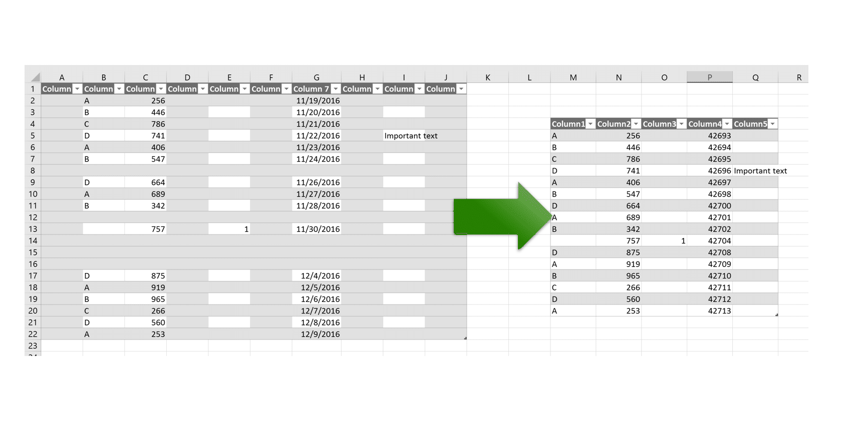 Remove empty columns and rows from a table in Excel