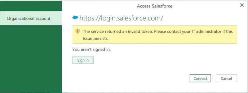 Salesforce login error using Power Query
