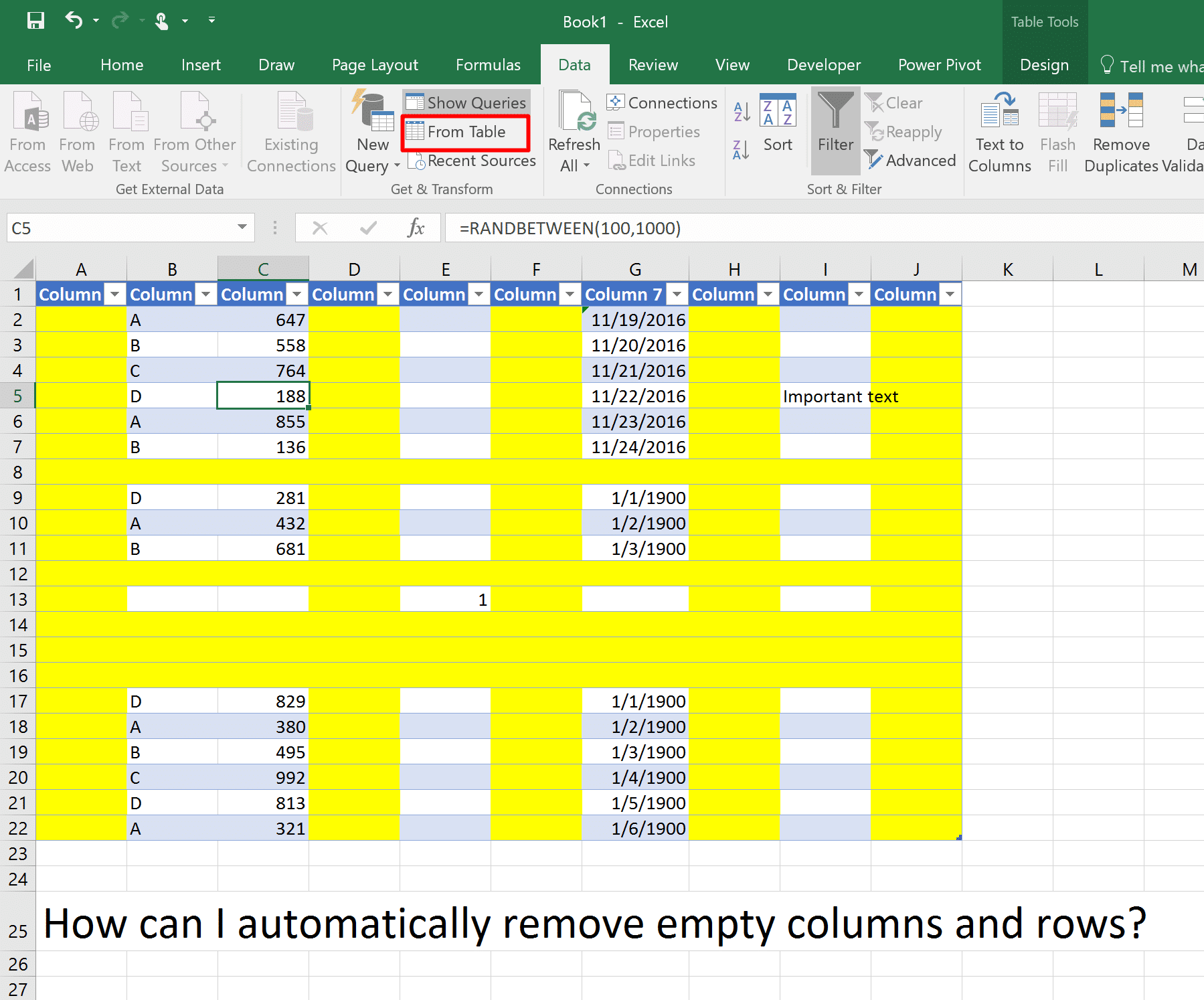 A table in Excel. Columns A, D, F, H and J are blank and highlighted. Rows 8, 12 and others are blank and highlighted as well. In the remaning cells in the table there is text values, numbers and dates. The challenge is to remove all blank rows and columns in Power Query. In the Data ribbon, From Table is highlighted.