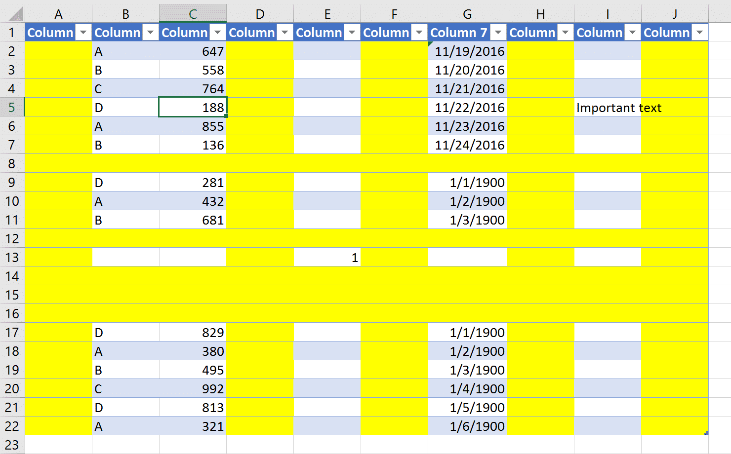 A table in Excel. Columns A, D, F, H and J are blank and highlighted. Rows 8, 12 and others are blank and highlighted as well. In the remaning cells in the table there is text values, numbers and dates. The challenge is to remove all blank rows and columns in Power Query.