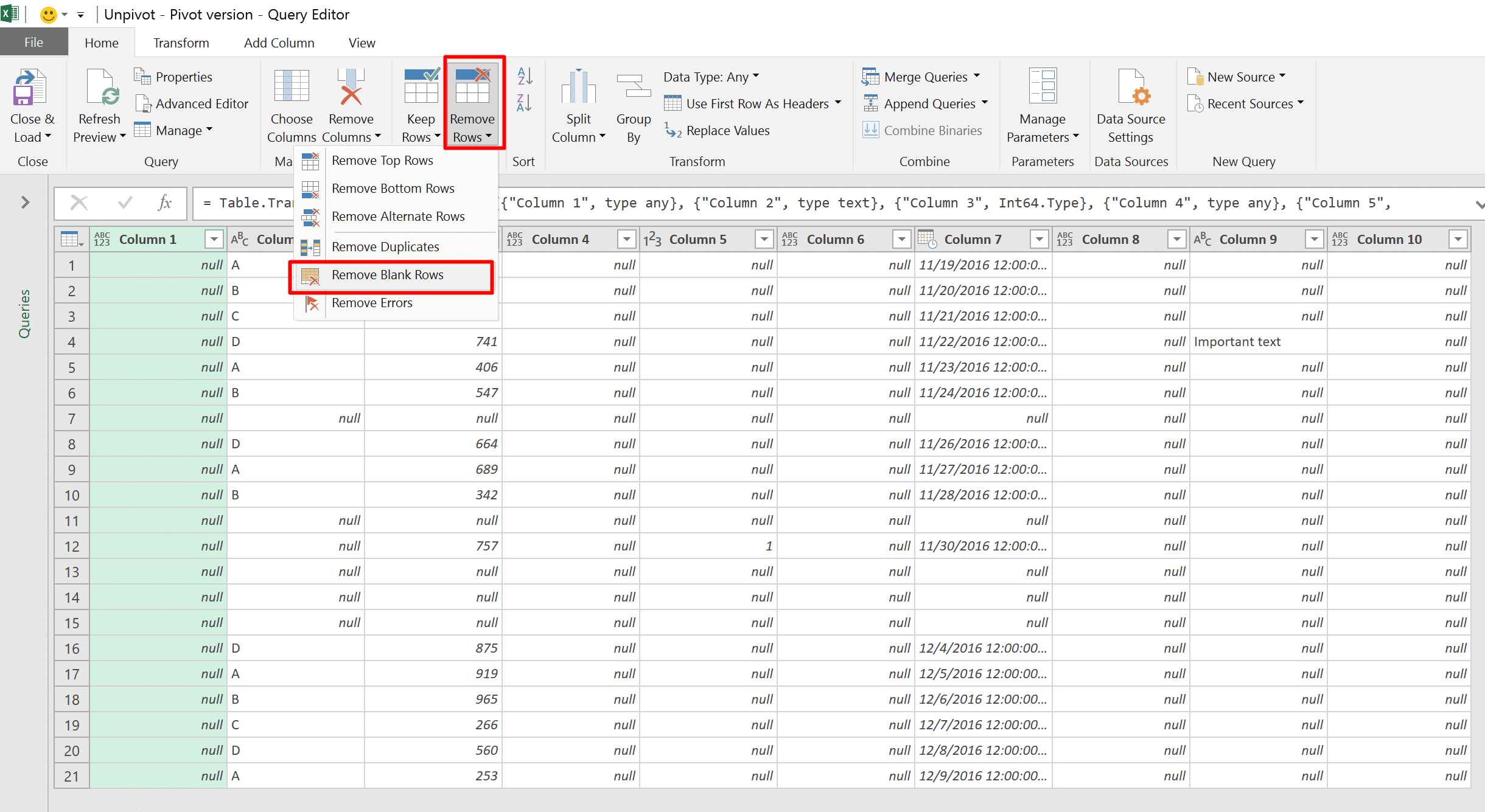 automatically remove empty columns and rows from a table in excel using power query datachant. Black Bedroom Furniture Sets. Home Design Ideas