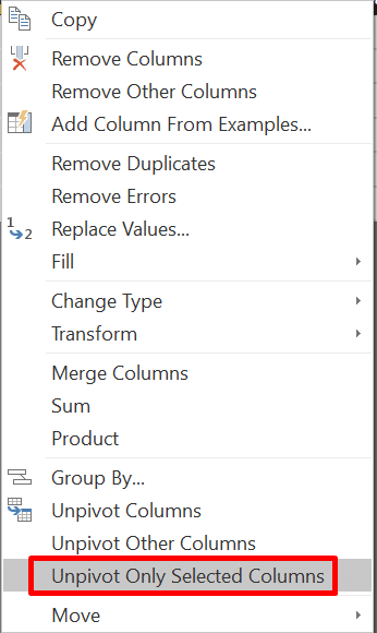 Unpivot Selected Columns