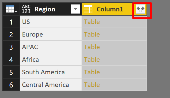 Expand Table Column