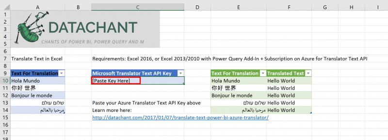 Microsoft Text Translator API in Excel