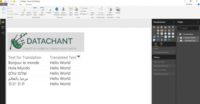 Text Translator API in Power BI