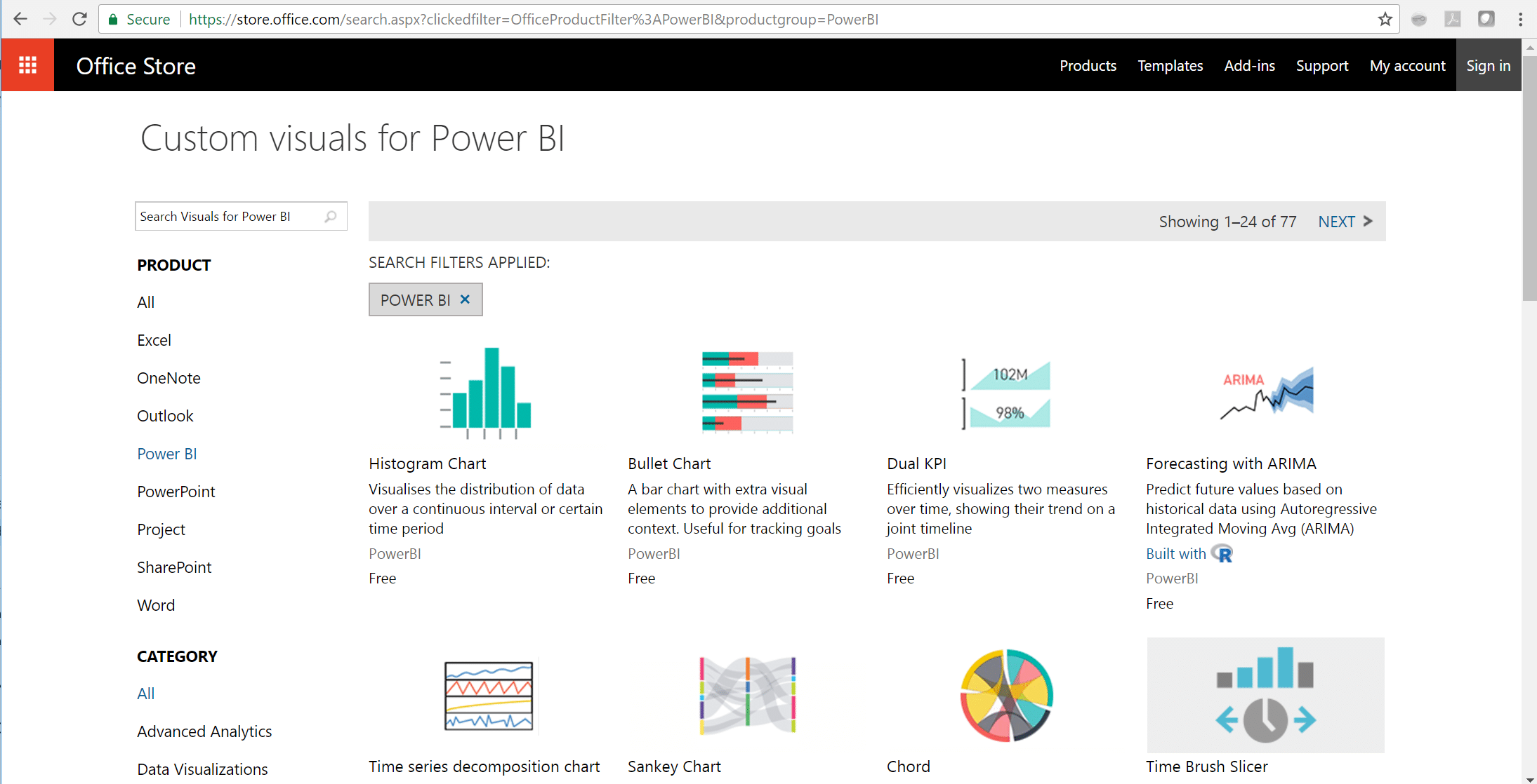 Office Store Power BI Custom Visuals
