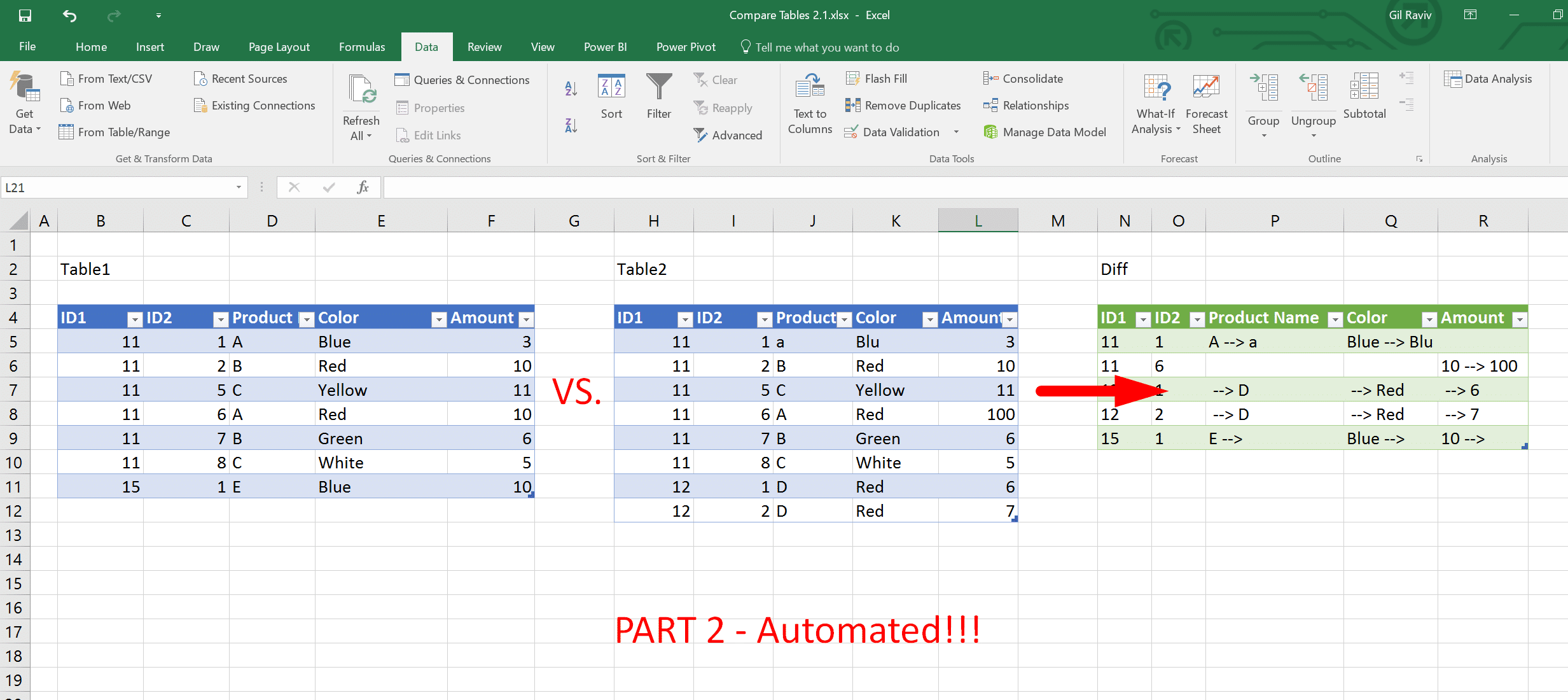 Compare two tables in Excel