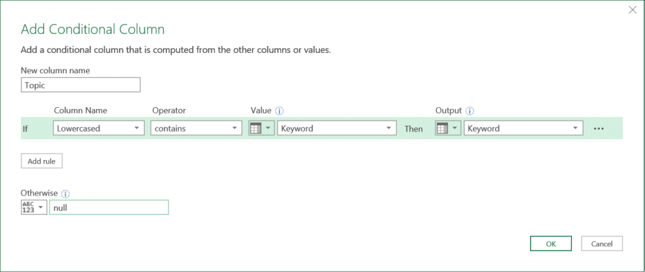 A screenshot of Add Conditional Column dialog box. Topic is set in the top text box of New column name. Lowercased is set as Column Name, contains as the Operator, Keyword column is set as both Value and Output. Null is set as Otherwise.