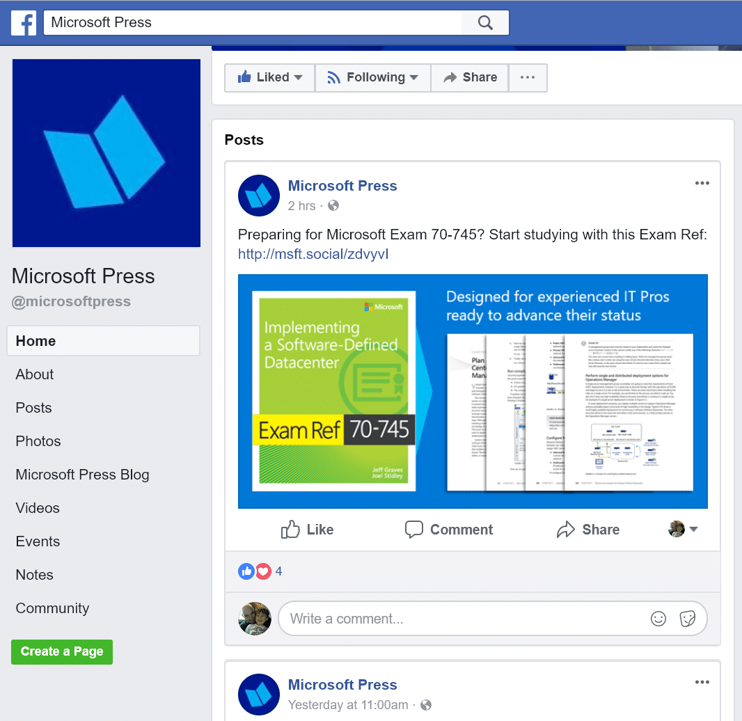 Search for keywords using Power Query in Microsoft Press Facebook page