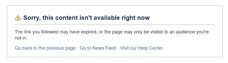 Tesla Page on Facebook is down